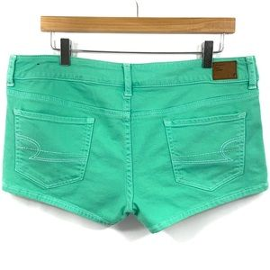 AEO Jean Shorts Aqua Green Denim Size 12 E22
